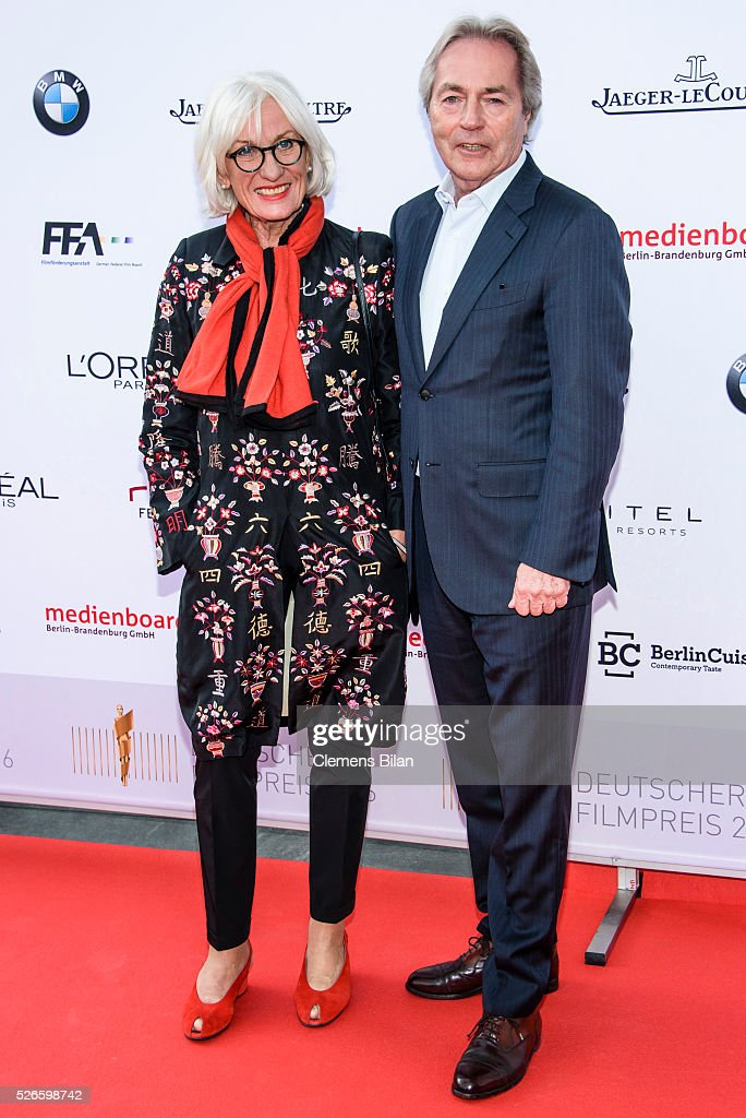Molly von Fuerstenberg (L) and Harald Kuegler attend the nominee dinner for the German Film Award 2015 Lola (Deutscher Filmpreis) on April 30, 2016 in Berlin, Germany.