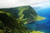 Aerial view of a part of Molokai island coast and Kahiwa falls, Hawaii (View from a helicopter)