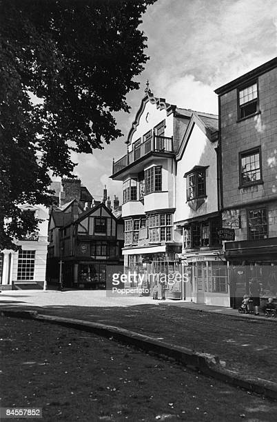 Mols Coffee House built in the 16th century in the Cathedral close Exeter Devon circa 1948