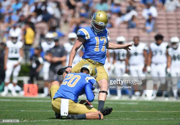 JJ Molson kicks an extra point during a college football game between the Hawai'i Rainbow Warriors and the UCLA Bruins on September 09 2017 at the...