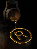 Molten gold - Trademark symbol. 3D image