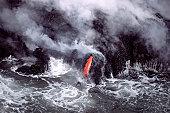 Molten lava and steam