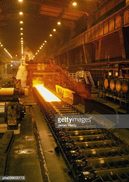 Molten steel in rolling mill, long shot