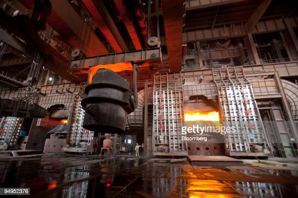 Molten steel is processed at the China Oriental Group Co steel plant in Tangshan Hebei province China on Saturday Aug 29 2009 China Oriental Group...