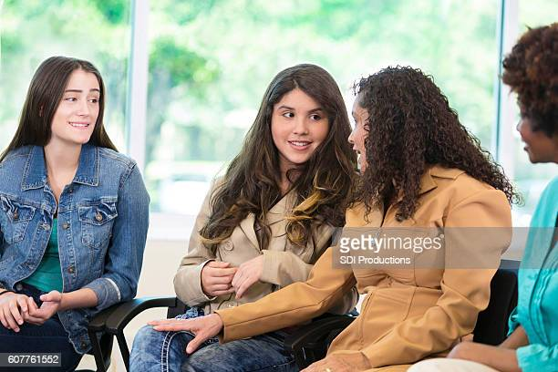 Mom and daughter share during discussion group