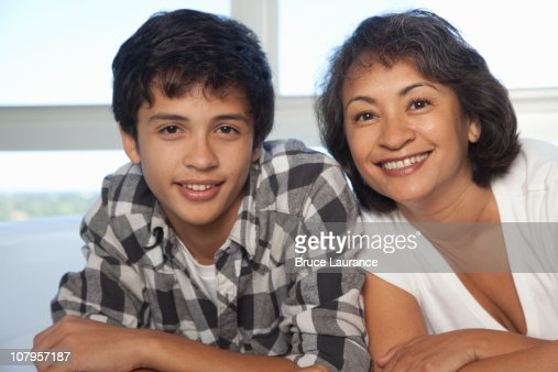 mom and son looking at camera : Stock Photo