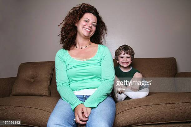 mom and son on couch