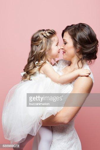 Mom gives me an Eskimo kiss! : Stock Photo
