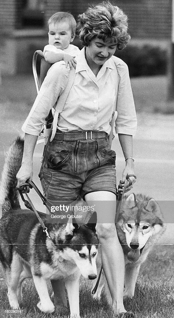 JUN 18 1964, JUN 23 1964; Mom Has Her Hands Full; Mrs. Richard Reed, of 1655 S. Holly St., and her daughter Tracy, 7 months, take the family dogs for a walk along S. Holly St. Dogs are, left, Furlin, and Loki, champion purebred Siberian Huskies. Mrs. Reed said she and the dogs needed exercise, and the system works well 'until the dogs see a cat.' She wears lederhosen (leather shorts) simply because she likes them in the summertime.;