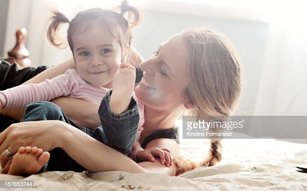 Mom having fun with her toddler