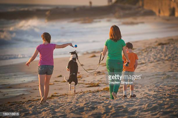 Mom, kids and dog walking on the beach