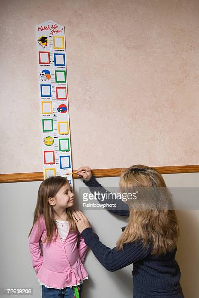 Mom measuring the growth of her daughter.