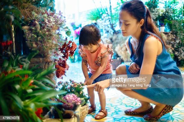 Mom & toddler girl choosing flowers in flower shop
