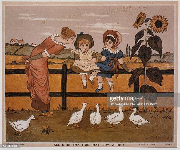 Mom with daughters and geese Christmas card London United Kingdom 19th century London Victoria And Albert Museum
