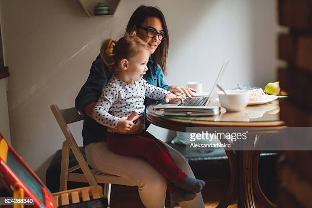 Mom working from home