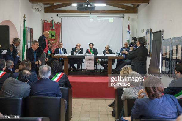 A moment during the official presentation of the project of the 'Cemetery memorial for migrants and refugees the victims of shipwrecks' who will be...