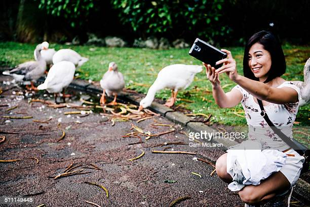 A moment for a selfie at the Auckland Lantern Festival on February 18 2016 in Auckland New Zealand In it's 17th year and for the first time the...