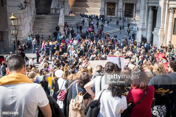A moment of demonstration on the Capitol Hill against the resolution of the Capital of Rome on children's nurseries