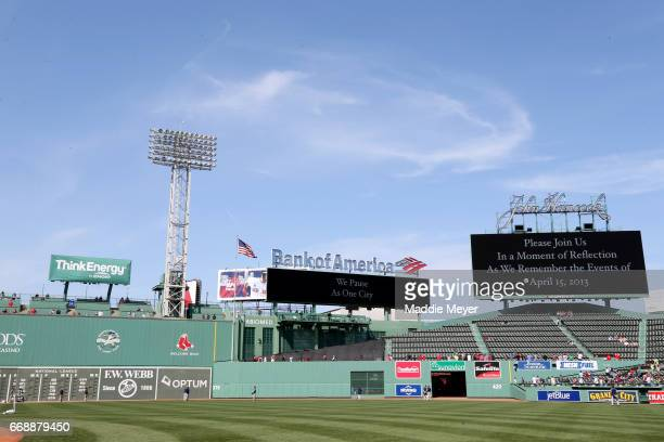 A moment of silence is observed at 249 pm to recognize the four year anniversary of the Boston Marathon bombings at Fenway Park on April 15 2017 in...