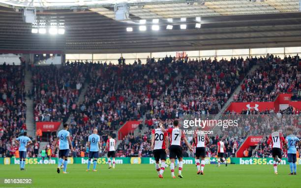 moments after Southampton's Manolo Gabbiadini equalises during the Premier League match between Southampton and Newcastle United at St Mary's Stadium...