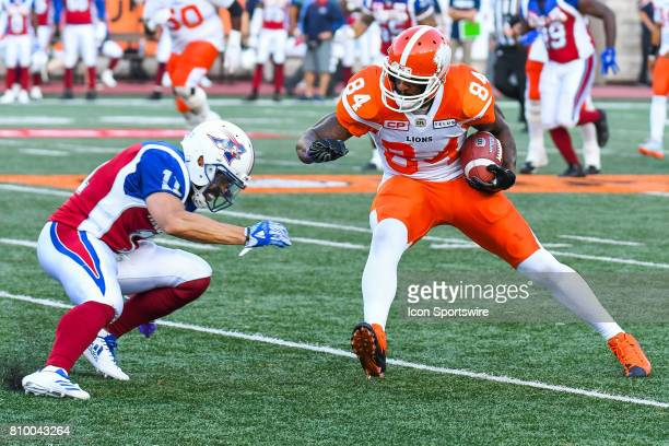 Moments before Montreal Alouettes linebacker Chip Cox tackles BC Lions slotback Emmanuel Arceneaux during the BC Lions versus the Montreal Alouettes...