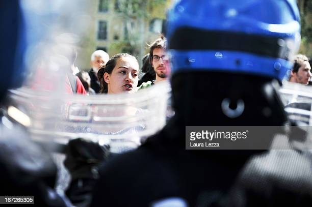Moments of tension between students and law enforcement at Scuola Superiore Sant'Anna on April 23 2013 in Pisa Italy Clashes between the police and...