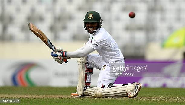 Mominul Haque of Bangladesh bats during the first day of the 2nd Test match between Bangladesh and England at ShereBangla National Cricket Stadium on...