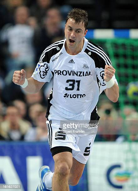 Momir Ilic of Kiel celebrates a goal during the HBL Bundesliga game between THW Kiel and TSV HannoverBurgdorf at the Sparkassen arena on February 13...