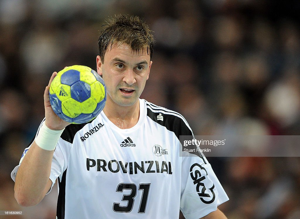 Momir Ilic of Kiel in action during the HBL Bundesliga game between THW Kiel and TSV Hannover-Burgdorf at the Sparkassen arena on February 13, 2013 in Kiel, Germany.