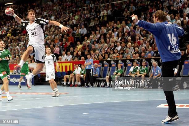 Momir Ilic of Kiel in action during the Toyota Handball Bundesliga match between THW Kiel and Frisch Auf Goeppingen at the Sparkassen Arena on...