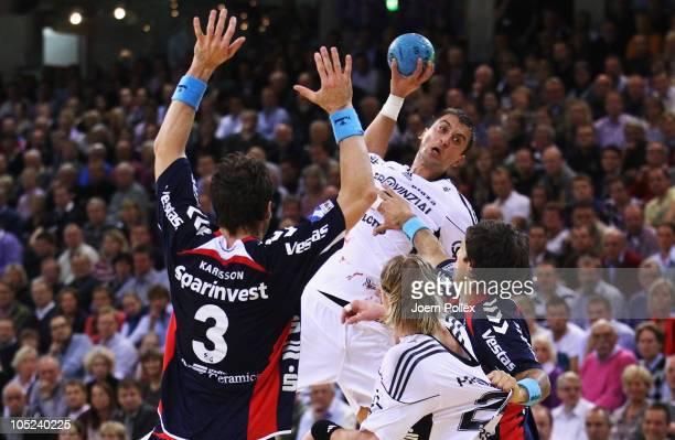 Momir Ilic of Kiel scores during the Toyota Handball Bundesliga match between SG FlensburgHandewitt and THW Kiel at the Campus Hall on October 13...