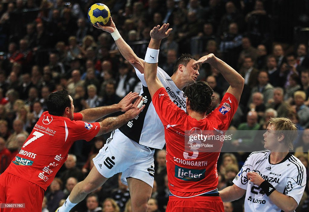 Momir Ilic of Kiel scores during the Toyota Handball Bundesliga match between THW Kiel and MT Melsungen at the Sparkassen Arena on February 23, 2011 in Kiel, Germany.