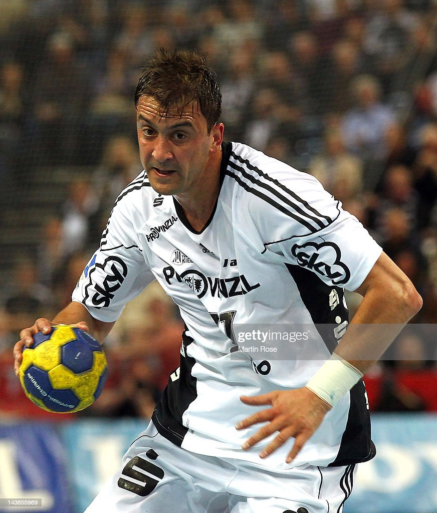 Momir Ilic of Kiel throws the ball during the Toyota Handball Bundesliga match between THW Kiel and SC Magdeburg at Sparkassen Arena on May 1, 2012 in Kiel, Germany.