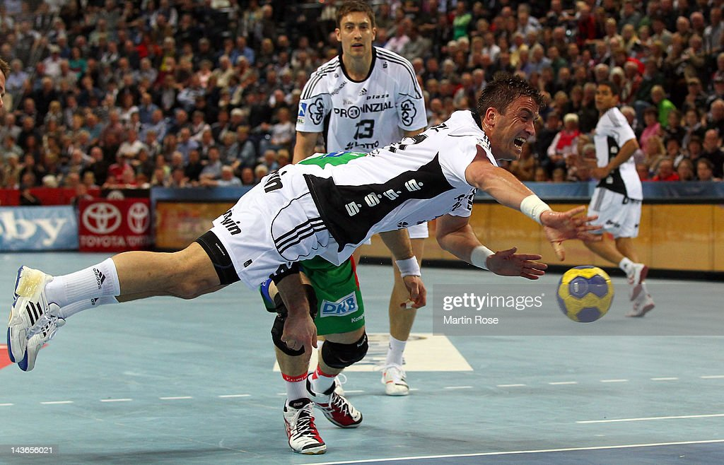 Momir Ilic of Kiel throws the ball uring the Toyota Handball Bundesliga match between THW Kiel and SC Magdeburg at Sparkassen Arena on May 1, 2012 in Kiel, Germany.