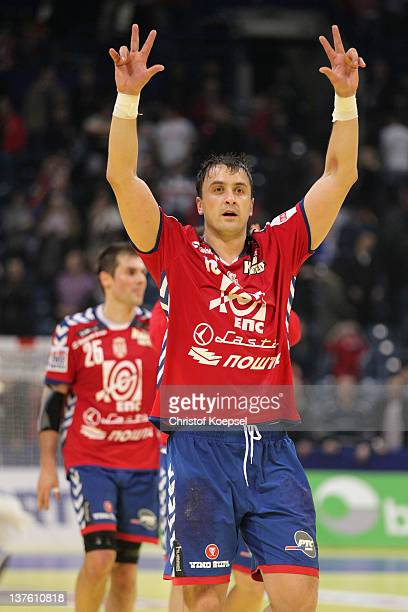 Momir Ilic of Serbia celebrates the 2421 victory after the Men's European Handball Championship second round group one match between Serbia and...