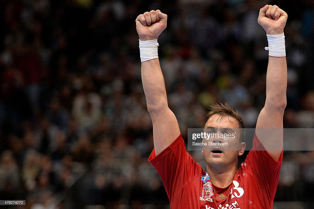 Momir Ilic of Veszprem reacts after winning the 'VELUX EHF FINAL4' semi final match against THW Kiel at Lanxess Arena on May 30 2015 in Cologne...