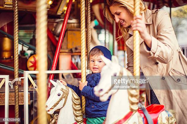Mommy and me on a carousel ride