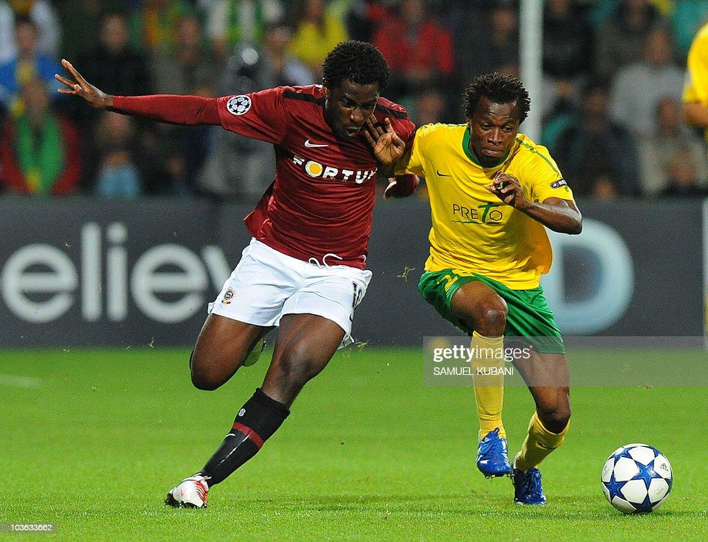 Momodou Ceesay of MSK Zilina R fights