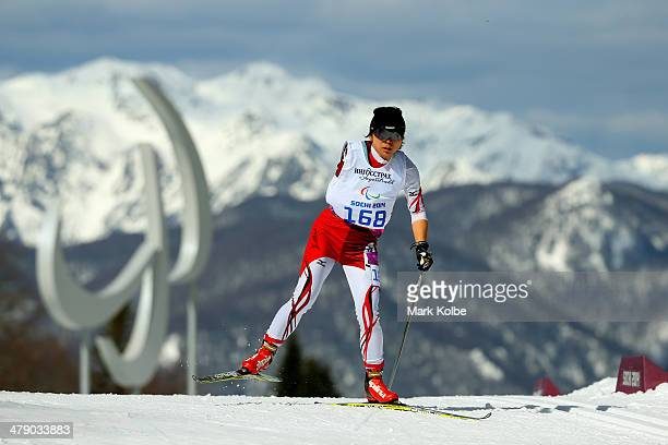 Momoko Dekijima Japan competes in the Women's Cross Country 5km Free – Standing on day nine of the Sochi 2014 Paralympic Winter Games at Laura...