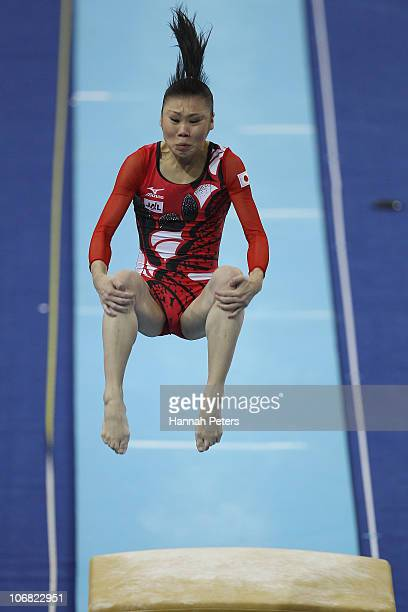 Momoko Ozawa of Japan competes in the Women's Team Final vault discipline at the Asian Games Town Gymnasium during day two of the 16th Asian Games...