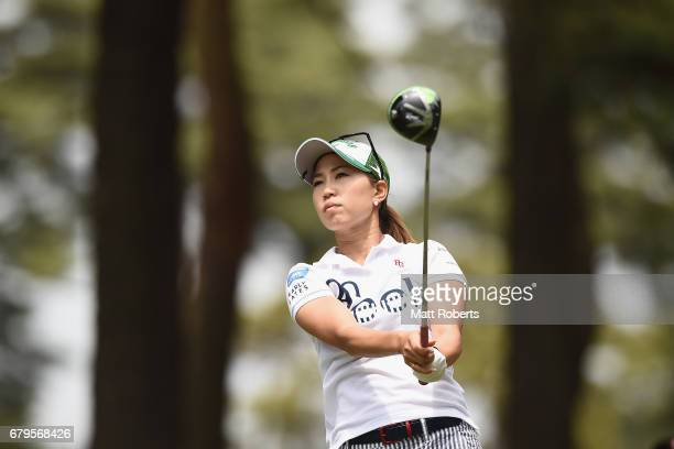 Momoko Udea of Japan hits her tee shot on the 3rd hole during the third round of the World Ladies Championship Salonpas Cup at the Ibaraki Golf Club...