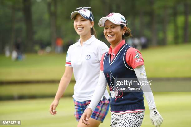 Momoko Ueda of Japan and Ai Miyazato of Japan smile during the first round of the Suntory Ladies Open at the Rokko Kokusai Golf Club on June 8 2017...