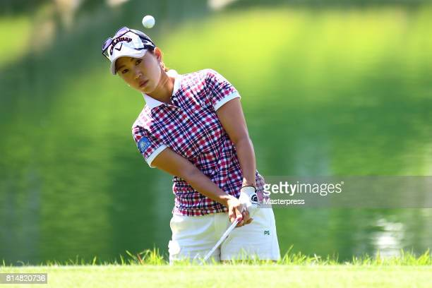 Momoko Ueda of Japan chips onto the 16th green during the second round of the Samantha Thavasa Girls Collection Ladies Tournament at the Eagle Point...