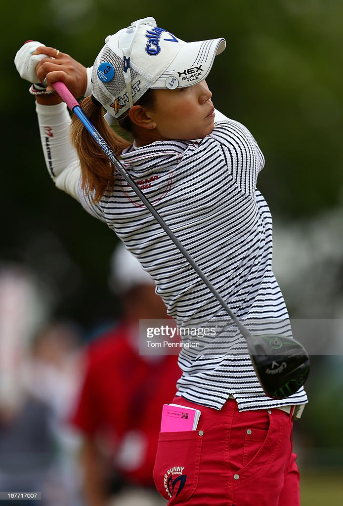 Momoko Ueda of Japan hits a shot during the final round of the 2013 North Texas LPGA Shootout at the Las Colinas Counrty Club on April 28, 2013 in Irving, Texas.