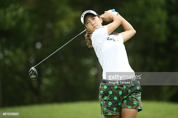 Momoko Ueda of Japan hits her tee shot on the 11th hole during the first round of the Samantha Thavasa Girls Collection Ladies Tournament 2015 at the...