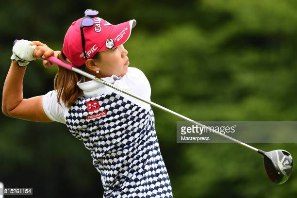 Momoko Ueda of Japan hits her tee shot on the 17th hole during the final round of the Samantha Thavasa Girls Collection Ladies Tournament at the...