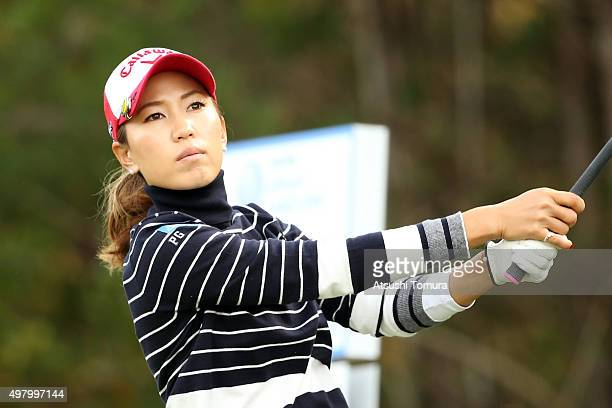 Momoko Ueda of Japan hits her tee shot on the 2nd hole during the second round of the Daio Paper Elleair Ladies Open 2015 at the Itsuurateien Country...