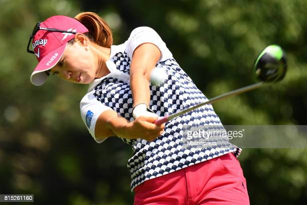 Momoko Ueda of Japan hits her tee shot on the 2nd hole during the final round of the Samantha Thavasa Girls Collection Ladies Tournament at the Eagle...