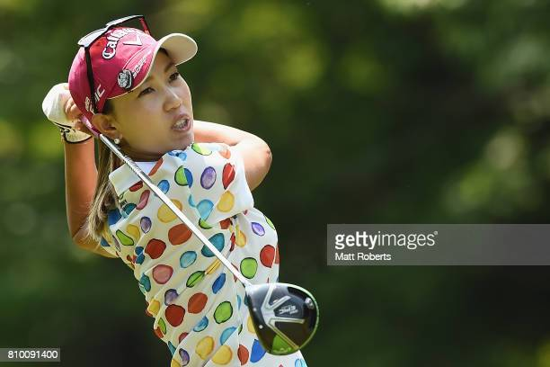 Momoko Ueda of Japan hits her tee shot on the 4th hole during the first round of the Nipponham Ladies Classics at the Ambix Hakodate Club on July 7...