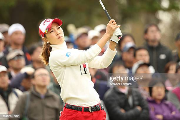 Momoko Ueda of Japan hits her tee shot on the 5th hole during the final round of the Daio Paper Elleair Ladies Open 2015 at the Itsuurateien Country...